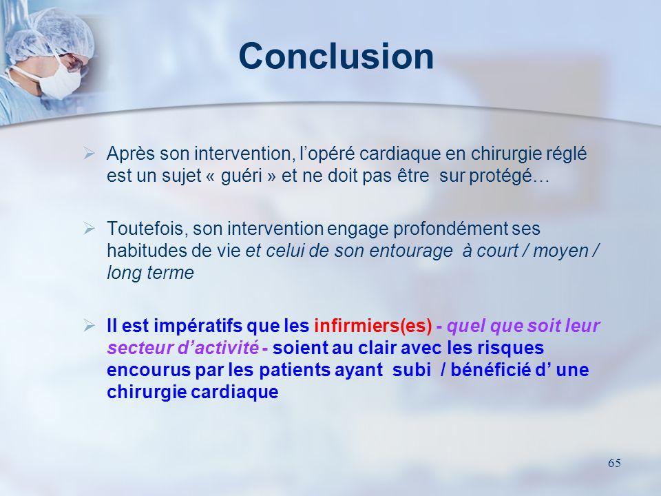 Conclusion Après son intervention, l'opéré cardiaque en chirurgie réglé est un sujet « guéri » et ne doit pas être sur protégé…