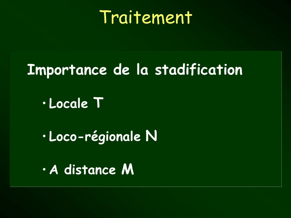 Traitement Importance de la stadification Locale T Loco-régionale N