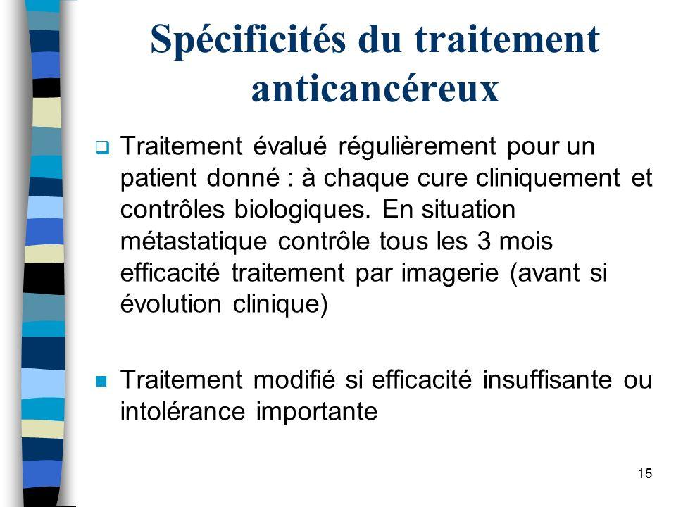 Spécificités du traitement anticancéreux