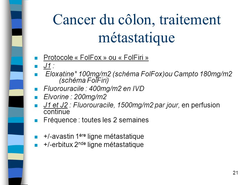 Cancer du côlon, traitement métastatique