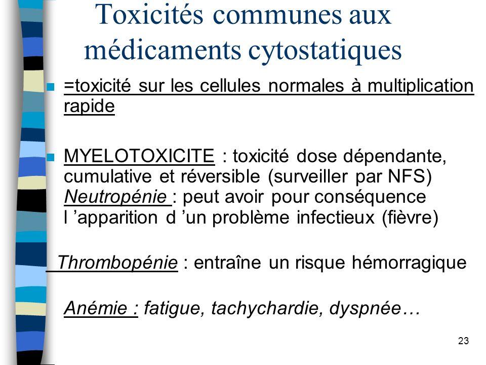 Toxicités communes aux médicaments cytostatiques