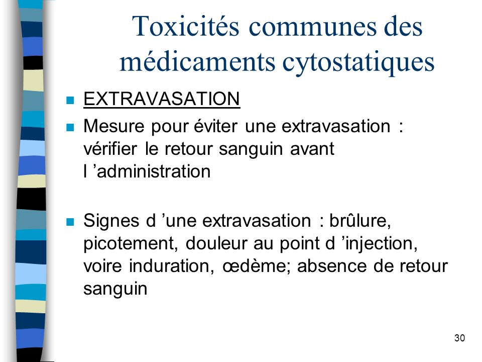 Toxicités communes des médicaments cytostatiques