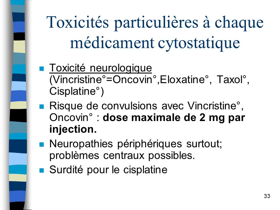 Toxicités particulières à chaque médicament cytostatique