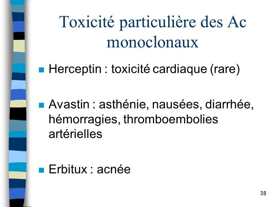 Toxicité particulière des Ac monoclonaux