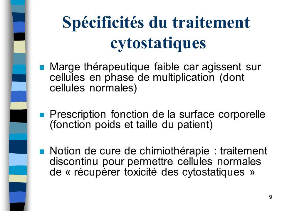 Spécificités du traitement cytostatiques