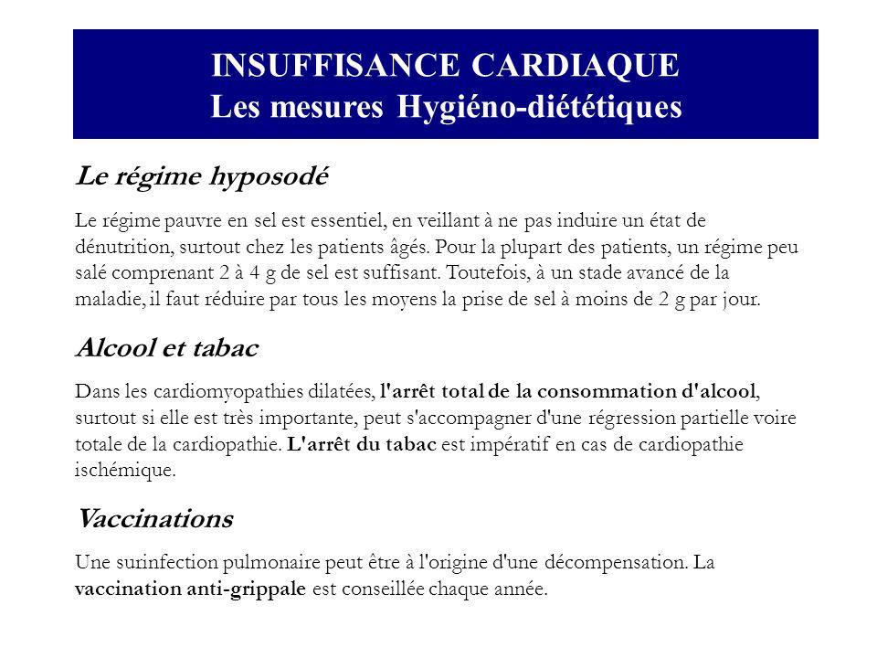 INSUFFISANCE CARDIAQUE Les mesures Hygiéno-diététiques
