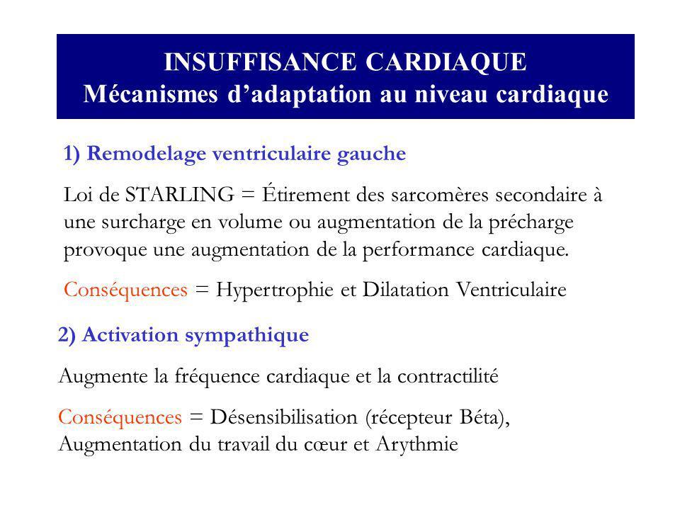 INSUFFISANCE CARDIAQUE Mécanismes d'adaptation au niveau cardiaque