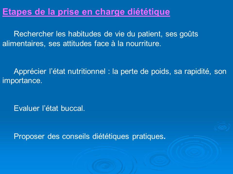 Etapes de la prise en charge diététique