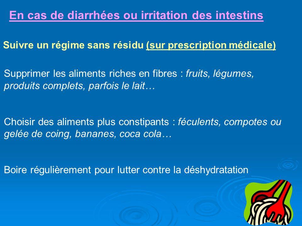 En cas de diarrhées ou irritation des intestins