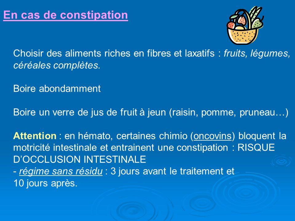 En cas de constipation Choisir des aliments riches en fibres et laxatifs : fruits, légumes, céréales complètes.
