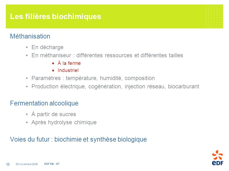 Les filières biochimiques