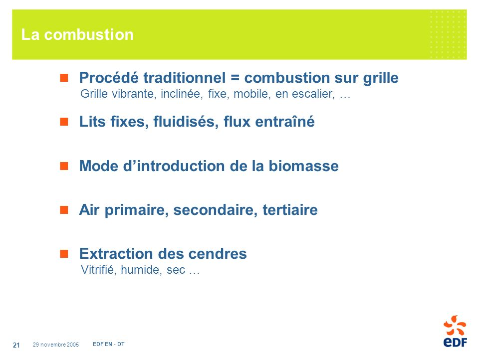 La combustion Procédé traditionnel = combustion sur grille