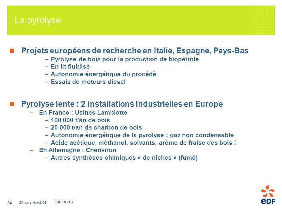 La pyrolyse Projets européens de recherche en Italie, Espagne, Pays-Bas. Pyrolyse de bois pour la production de biopétrole.