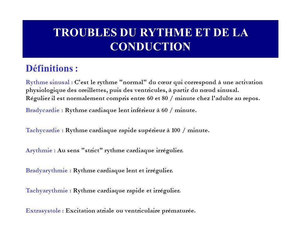 TROUBLES DU RYTHME ET DE LA CONDUCTION