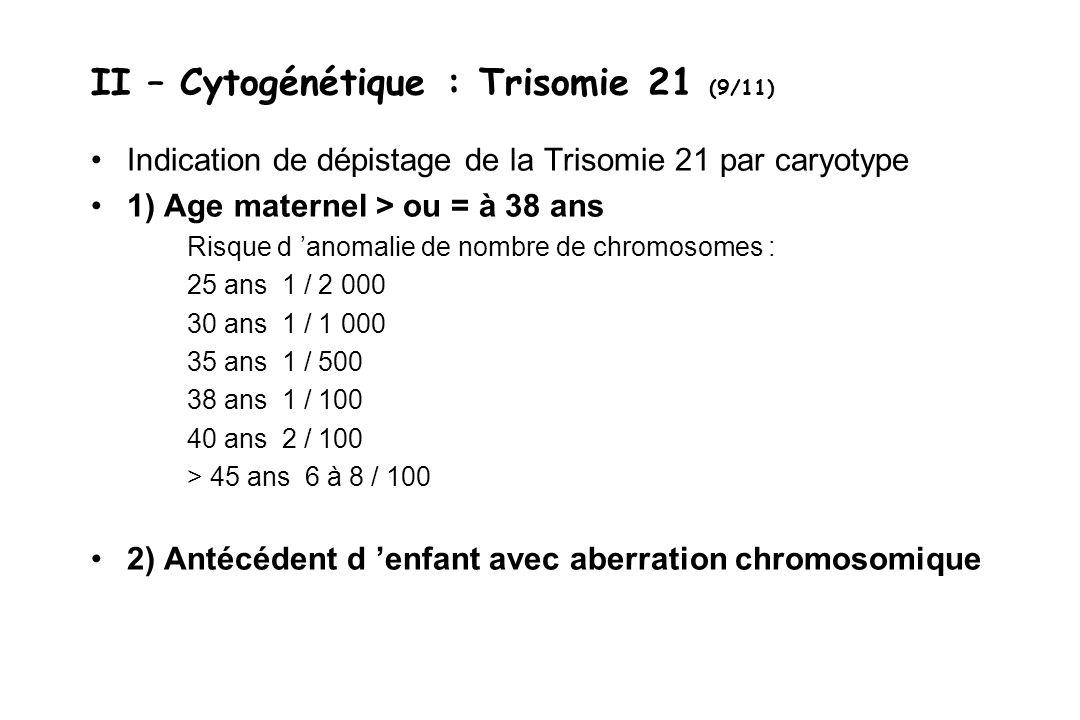 II – Cytogénétique : Trisomie 21 (9/11)