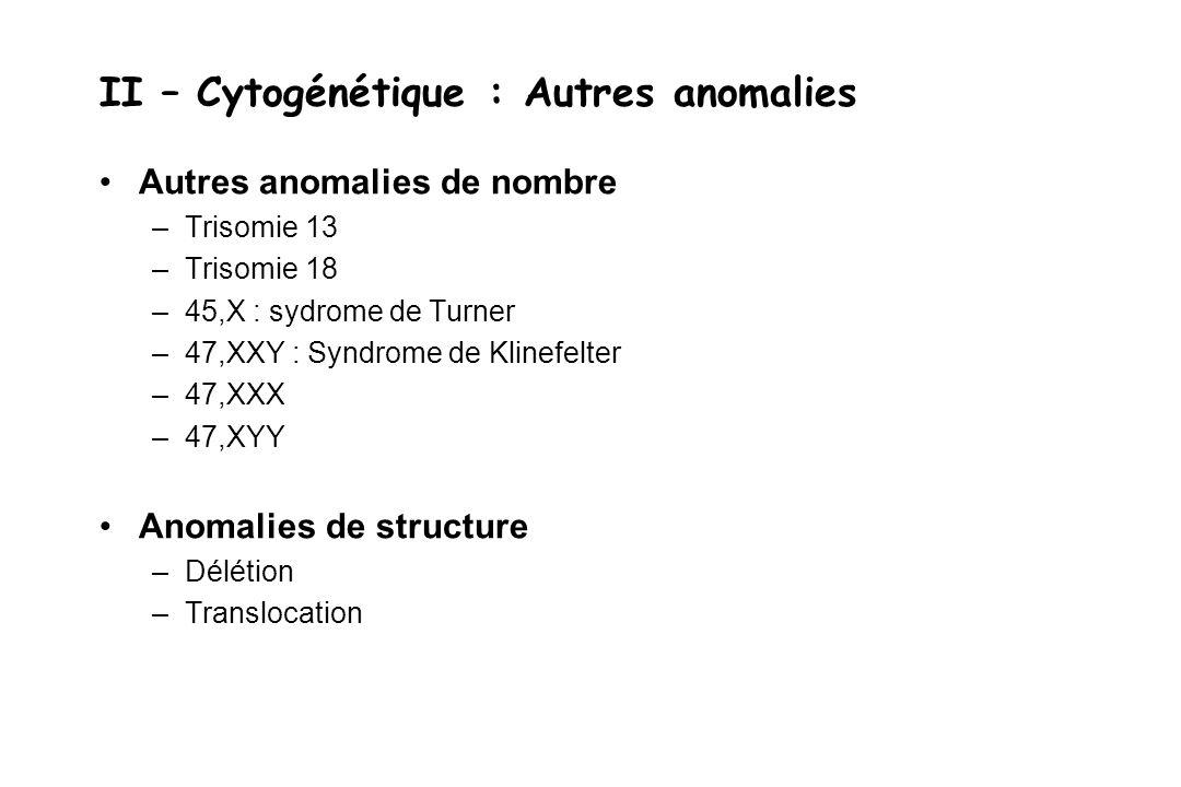 II – Cytogénétique : Autres anomalies