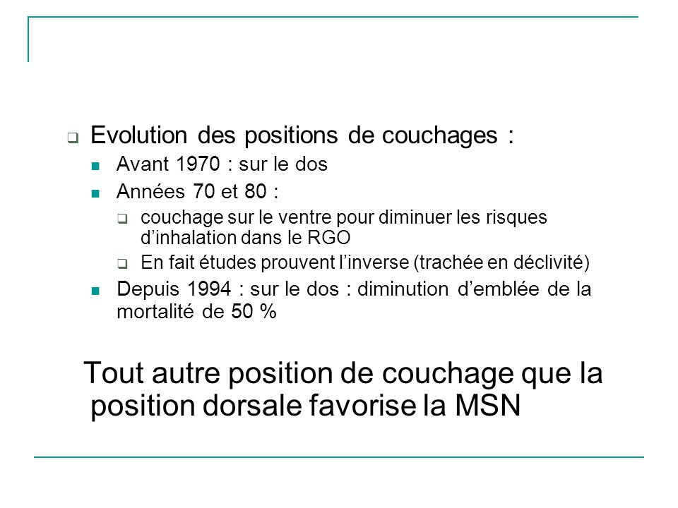 Evolution des positions de couchages :