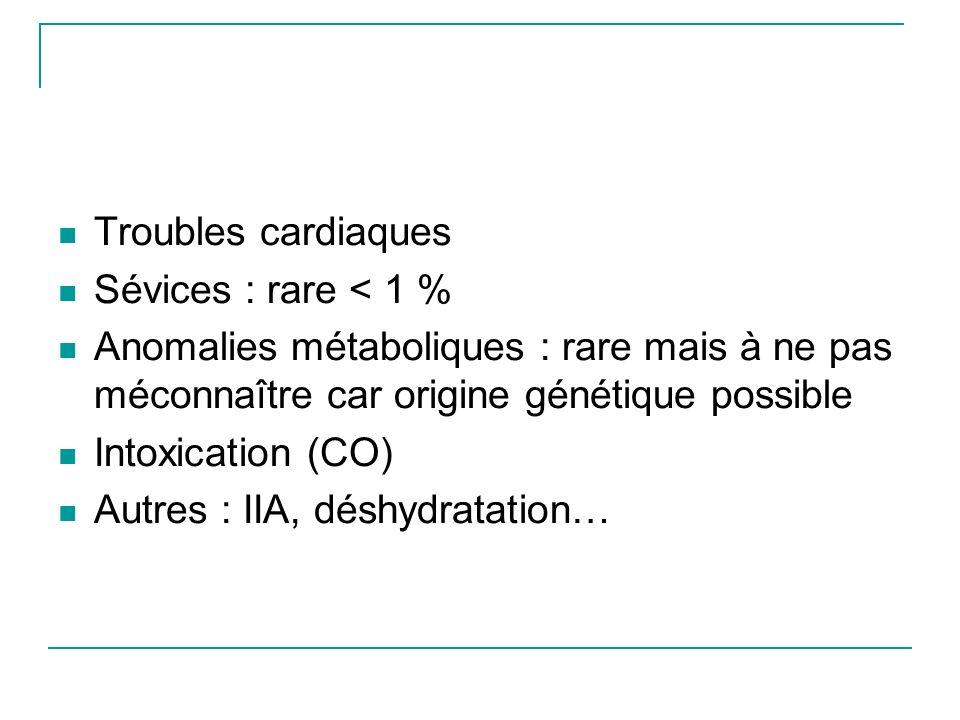Troubles cardiaques Sévices : rare < 1 % Anomalies métaboliques : rare mais à ne pas méconnaître car origine génétique possible.