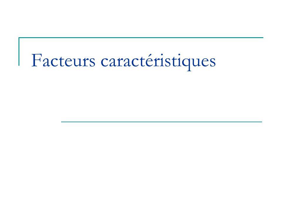Facteurs caractéristiques