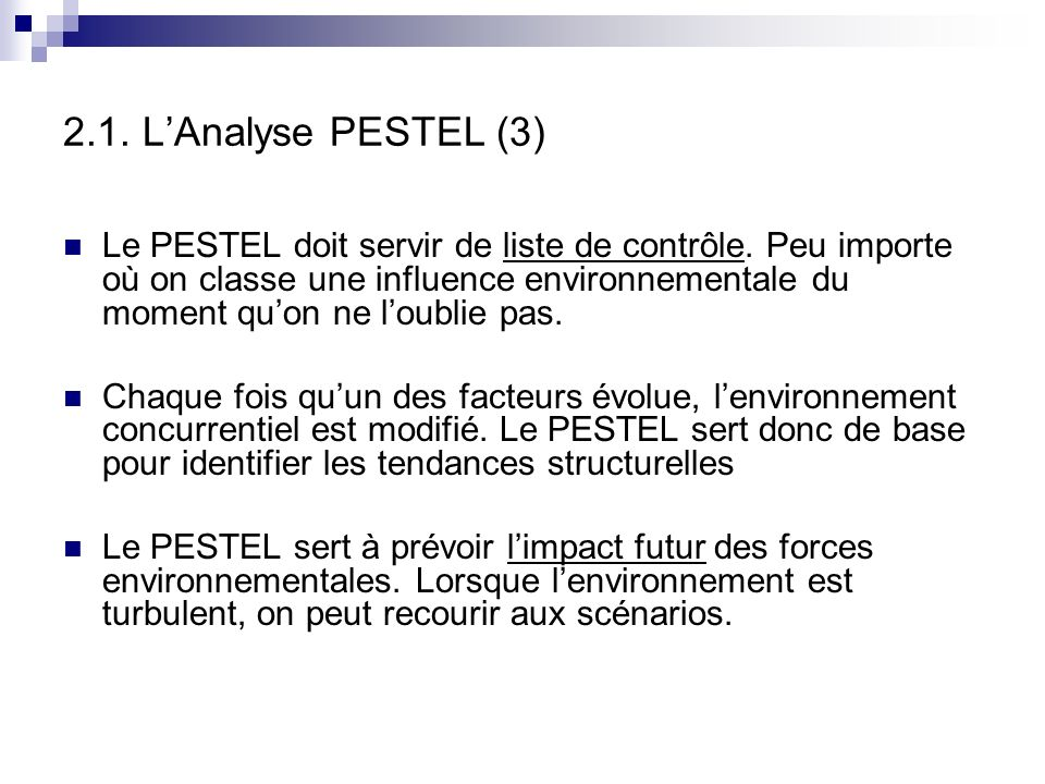 2.1. L'Analyse PESTEL (3)