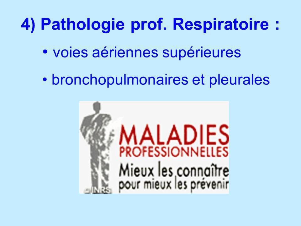 4) Pathologie prof. Respiratoire :