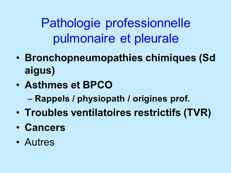 Pathologie professionnelle pulmonaire et pleurale