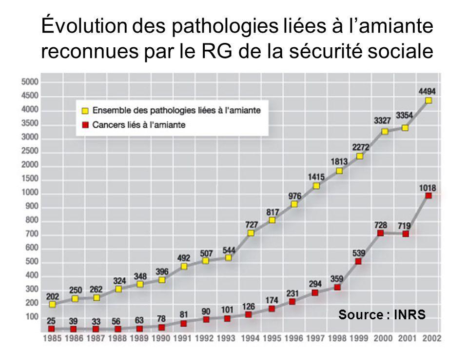 Évolution des pathologies liées à l'amiante reconnues par le RG de la sécurité sociale