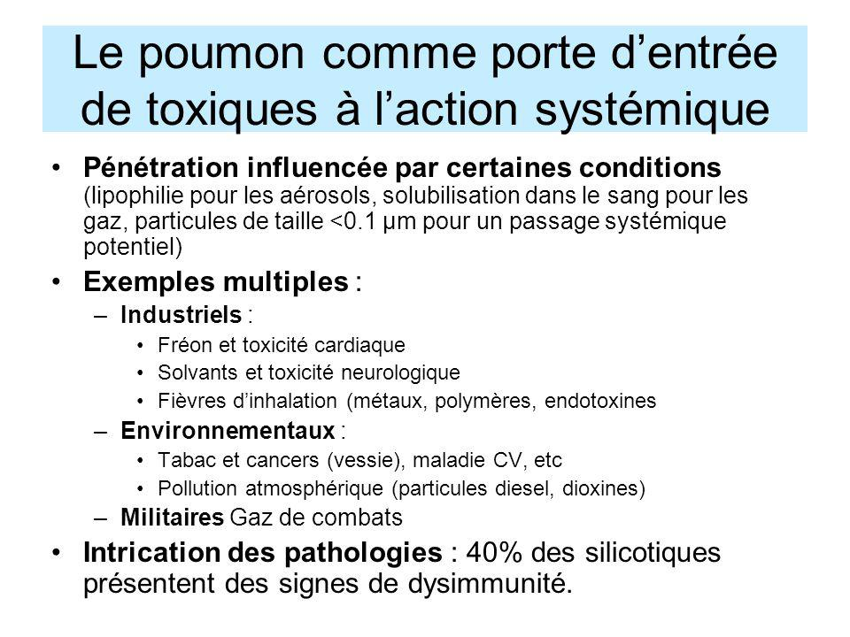Le poumon comme porte d'entrée de toxiques à l'action systémique