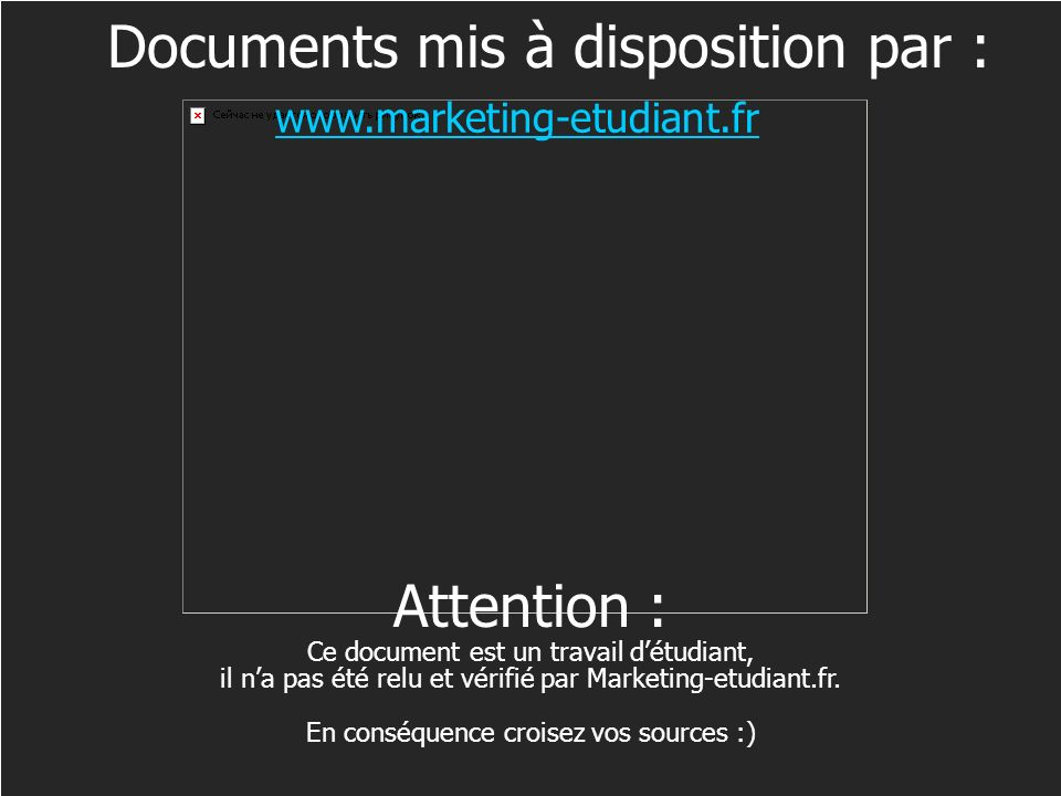 Ecueils à éviter Documents mis à disposition par : Attention :