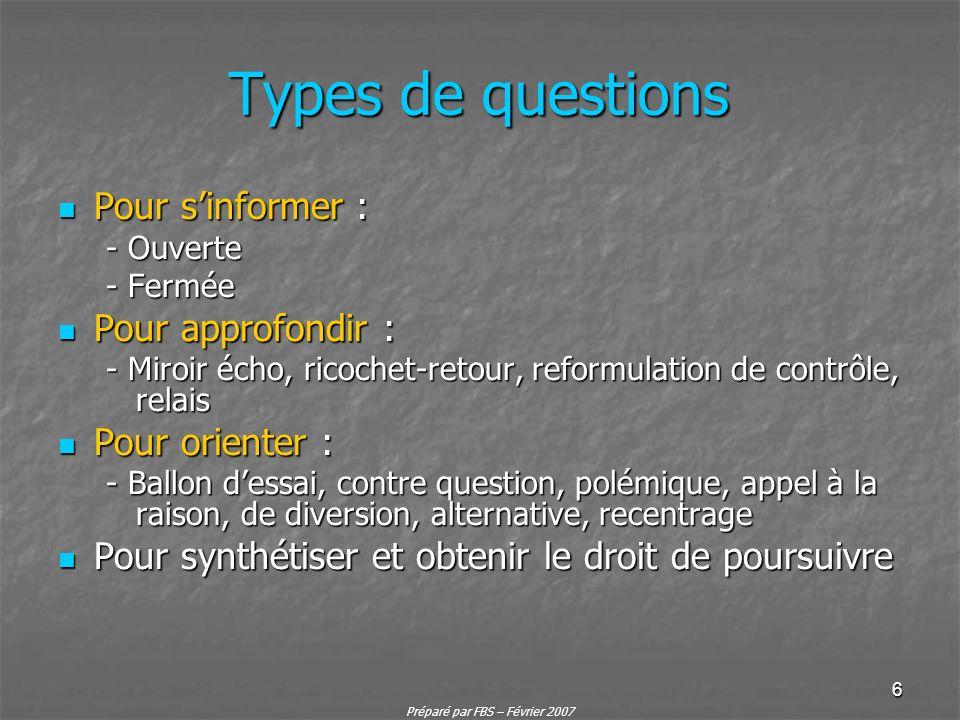 Types de questions Pour s'informer : Pour approfondir :