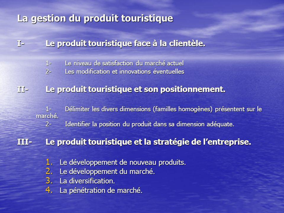 La gestion du produit touristique