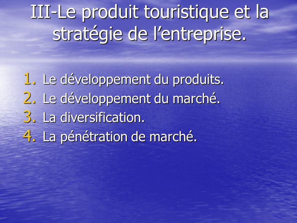 III-Le produit touristique et la stratégie de l'entreprise.