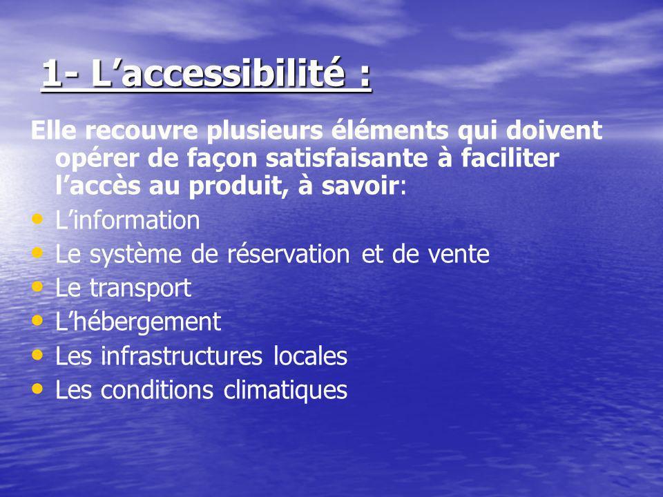 1- L'accessibilité : Elle recouvre plusieurs éléments qui doivent opérer de façon satisfaisante à faciliter l'accès au produit, à savoir: