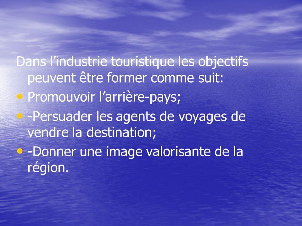 Dans l'industrie touristique les objectifs peuvent être former comme suit: