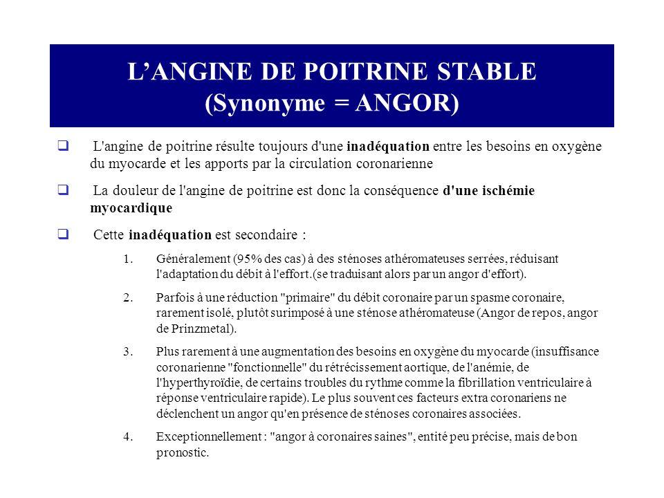 L'ANGINE DE POITRINE STABLE