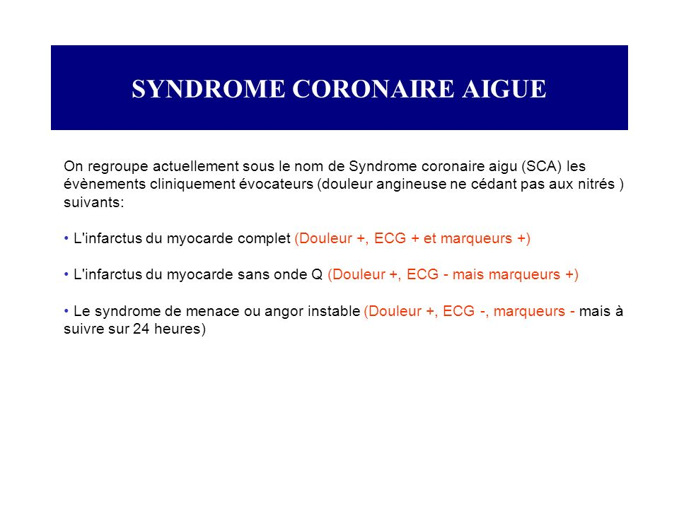 SYNDROME CORONAIRE AIGUE