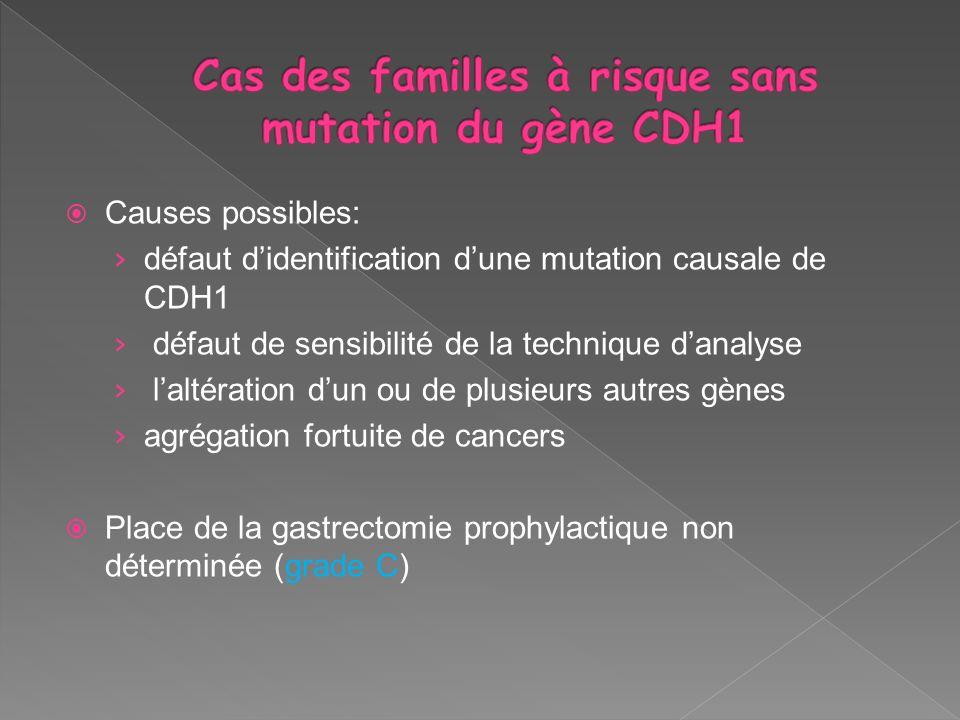 Cas des familles à risque sans mutation du gène CDH1