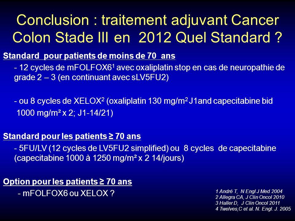 Conclusion : traitement adjuvant Cancer Colon Stade III en 2012 Quel Standard