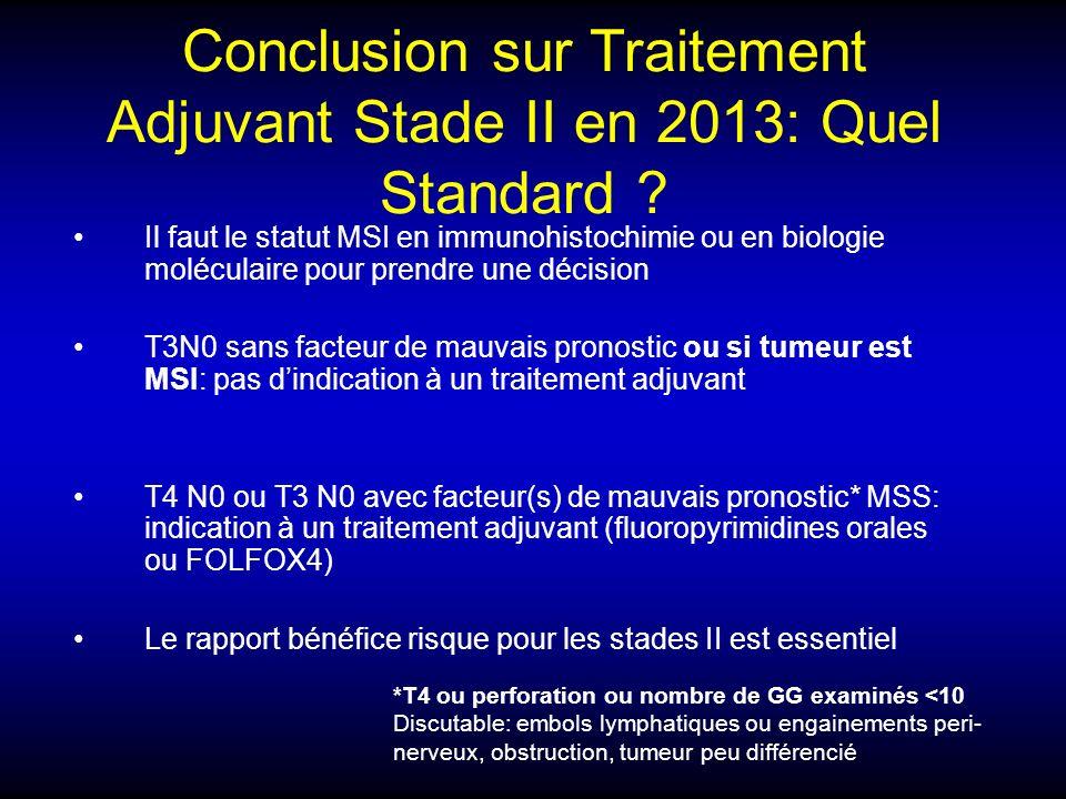 Conclusion sur Traitement Adjuvant Stade II en 2013: Quel Standard