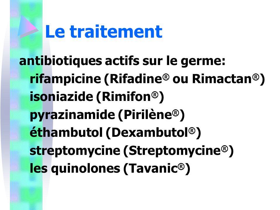 Le traitement antibiotiques actifs sur le germe: