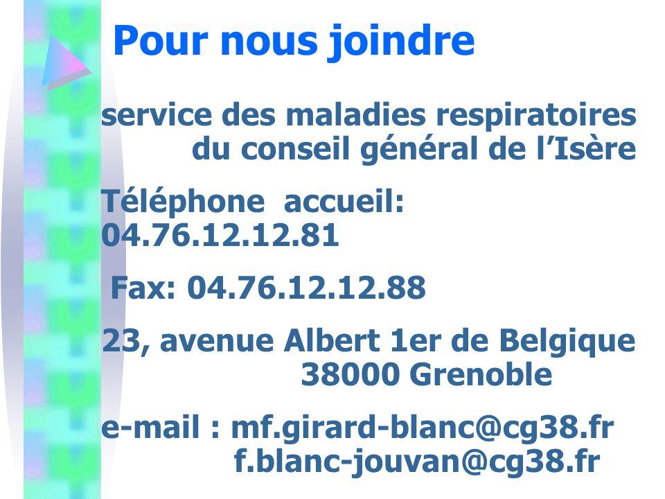 Pour nous joindre service des maladies respiratoires du conseil général de l'Isère. Téléphone accueil: 04.76.12.12.81.