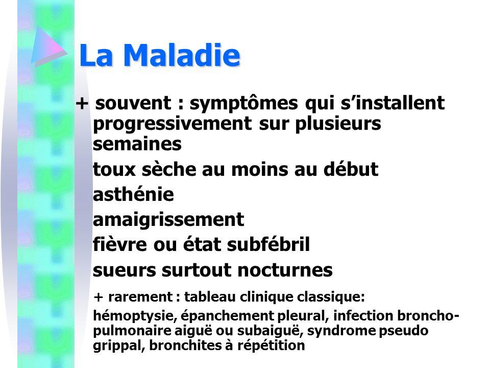La Maladie + souvent : symptômes qui s'installent progressivement sur plusieurs semaines. toux sèche au moins au début.