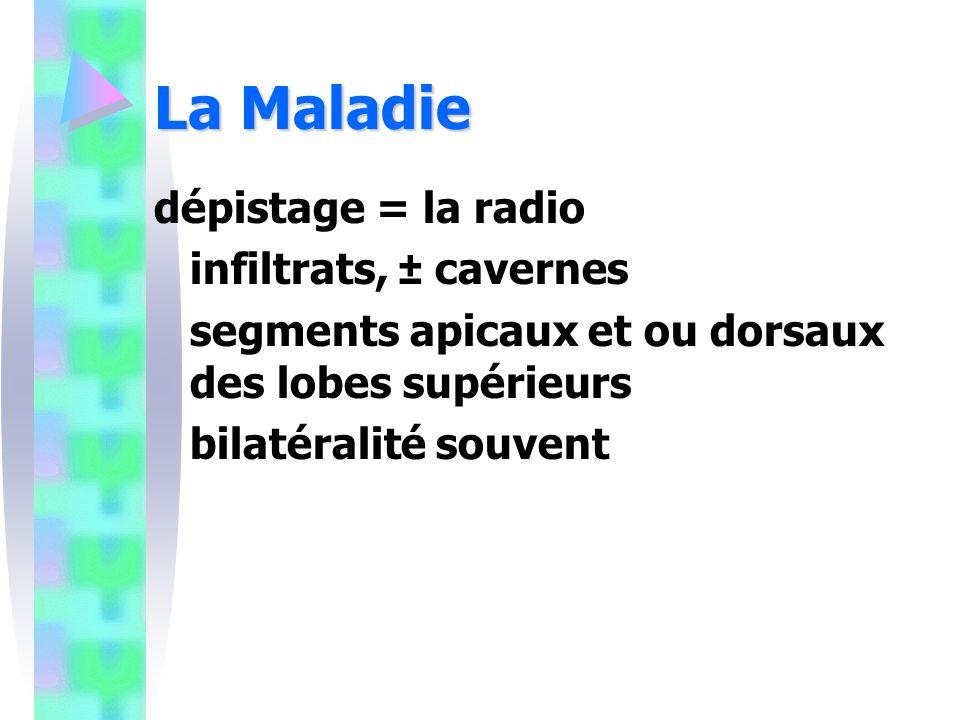 La Maladie dépistage = la radio infiltrats, ± cavernes