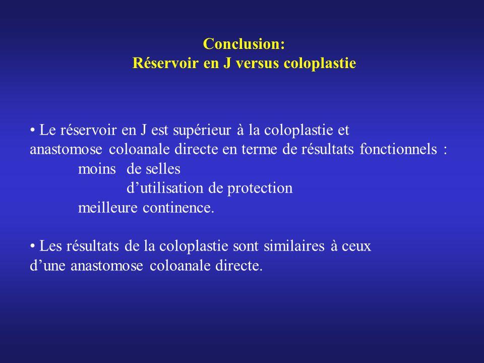 Réservoir en J versus coloplastie