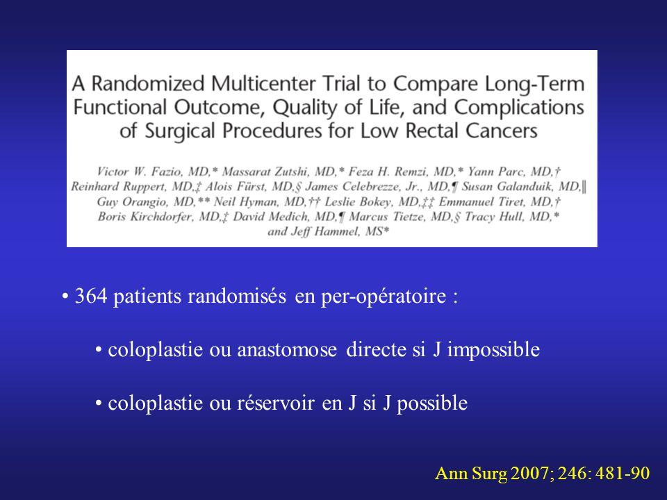 364 patients randomisés en per-opératoire :