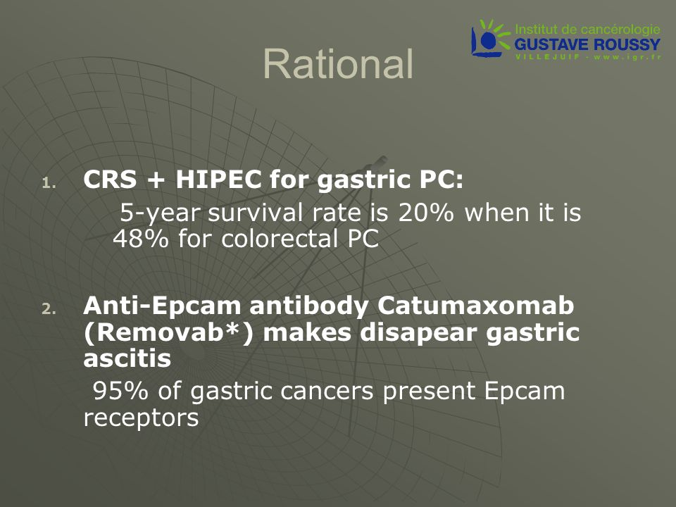 Rational CRS + HIPEC for gastric PC: