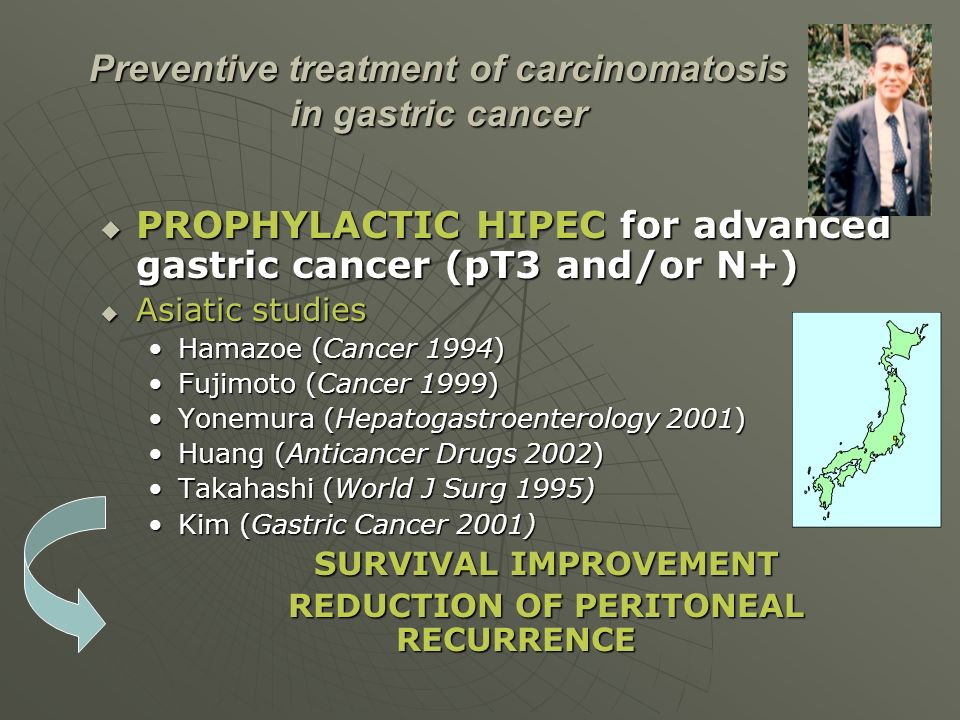 Preventive treatment of carcinomatosis in gastric cancer
