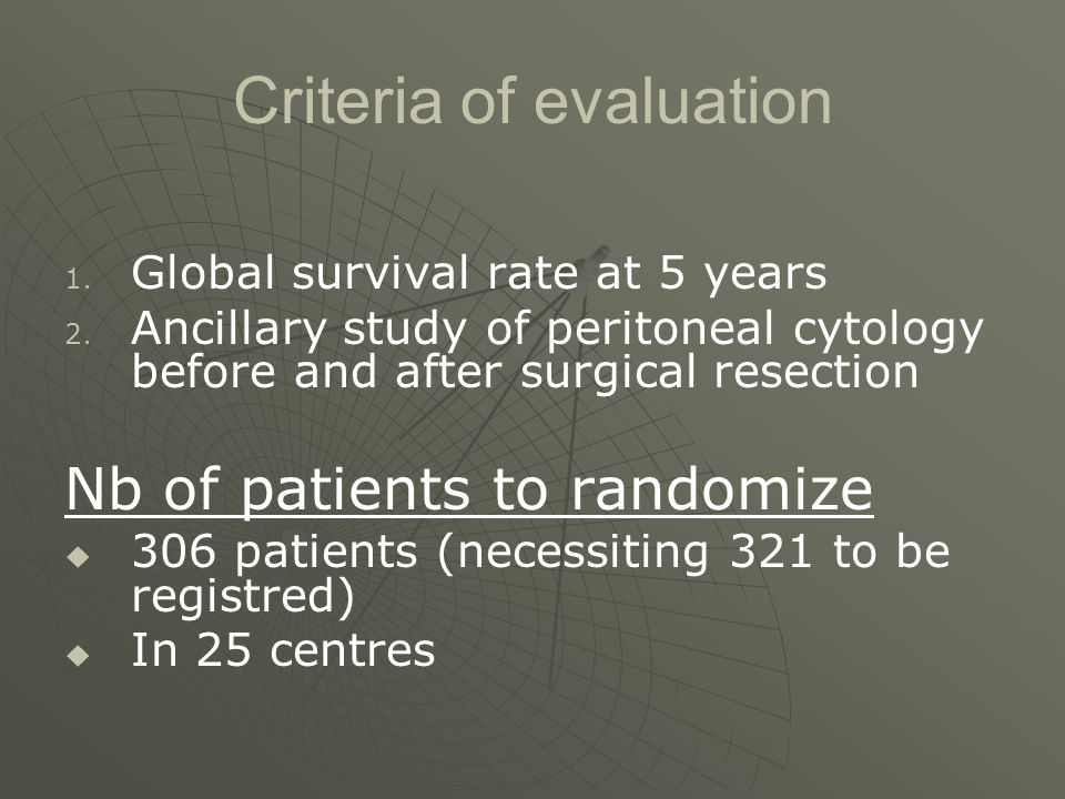 Criteria of evaluation