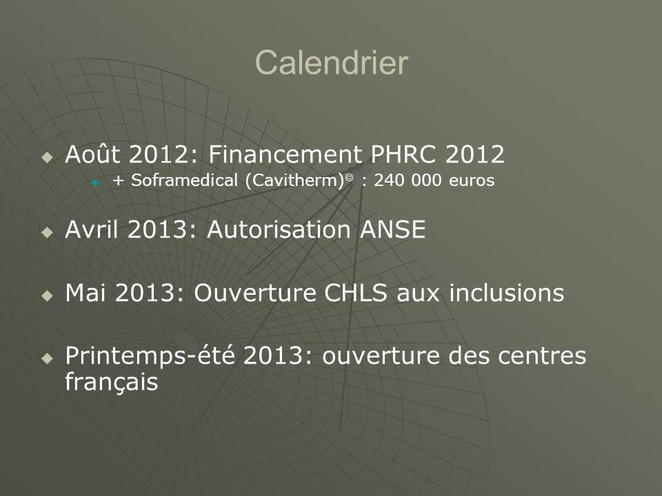 Calendrier Août 2012: Financement PHRC 2012