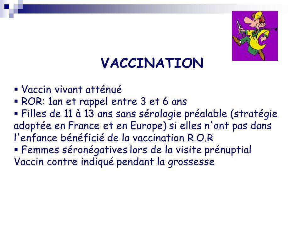 VACCINATION Vaccin vivant atténué ROR: 1an et rappel entre 3 et 6 ans
